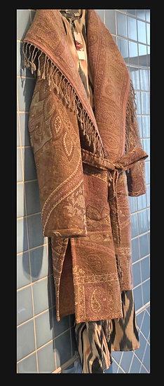 Maxi cardigan/kimono lana rosa pallido