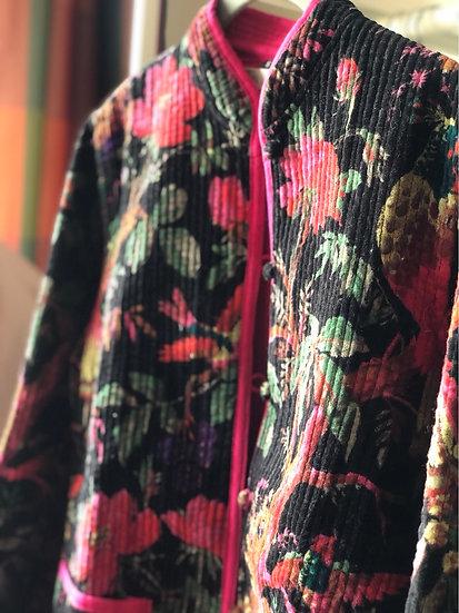 Giacchino velluto nero e magenta a fiori