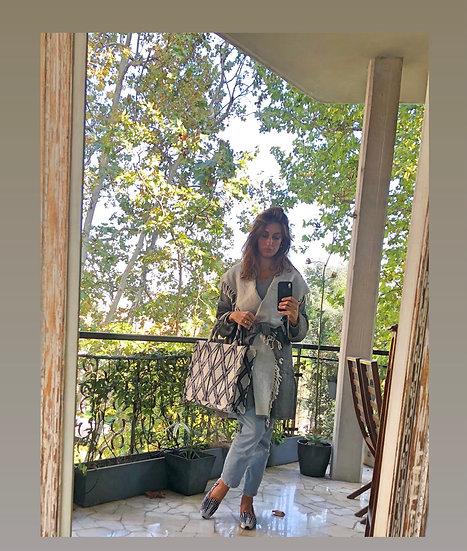 Giaccone-kimono lana grigio-panna