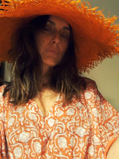Cappello grande raffia arancio