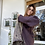 Thumbnail: Maxi cardigan aperto lana melanzana-avorio