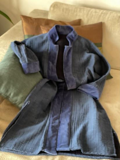 Cappottino lana e velluto blu