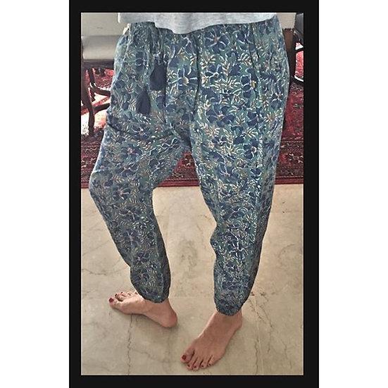 pantaloni bombachos fantasia blu