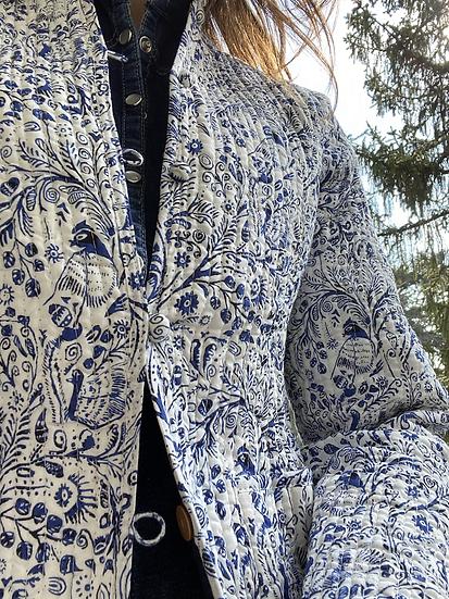 Giacchino leggermente trapuntato bianco/blu