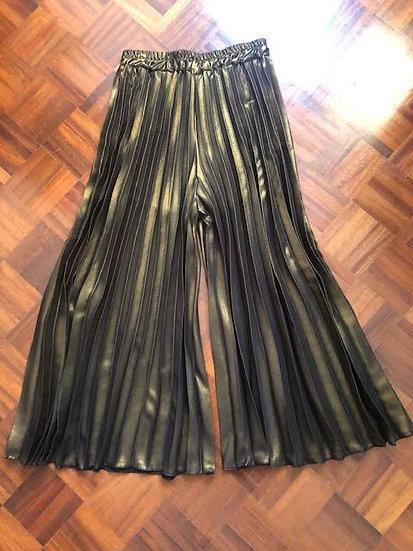 pantalone ampio plissè bronzo