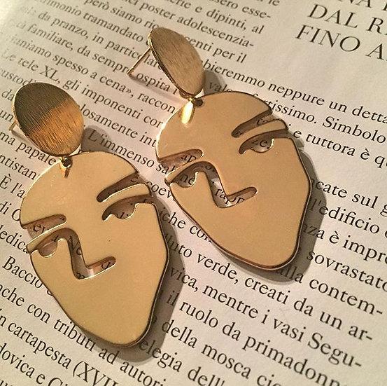 orecchini faccine placcati oro
