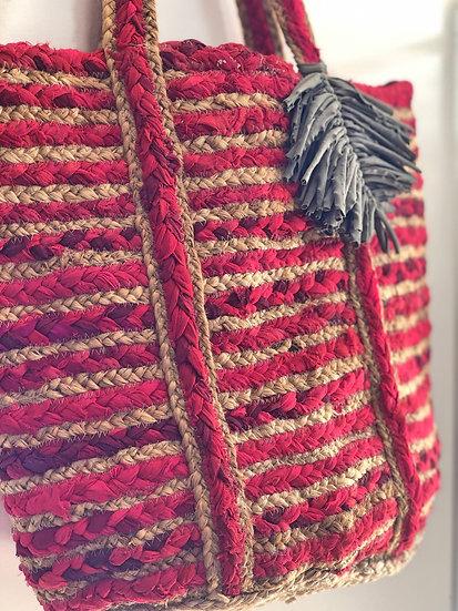 Borsa paglia e tessuto rosa fragola