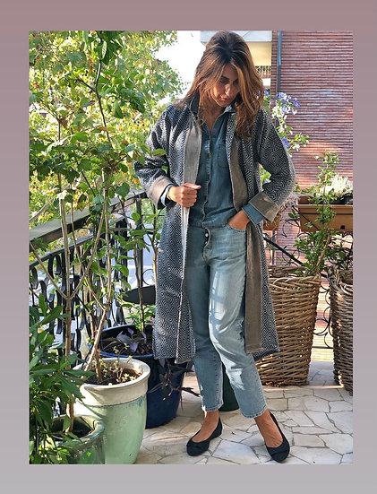 Cappottino lana blu-velluto grigio