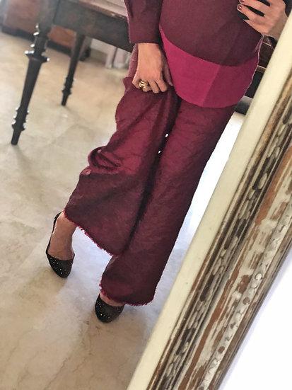 Completo pantalone shantung casacca lino