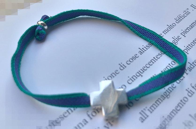 Braccialetto croce argento 925 elastico lavanda-verde smeraldo