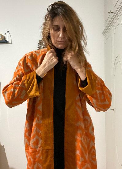 Cappottino lana e velluto curcuma