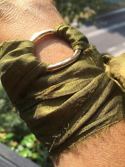 bracciale fermaglio bronzo seta verde oliva