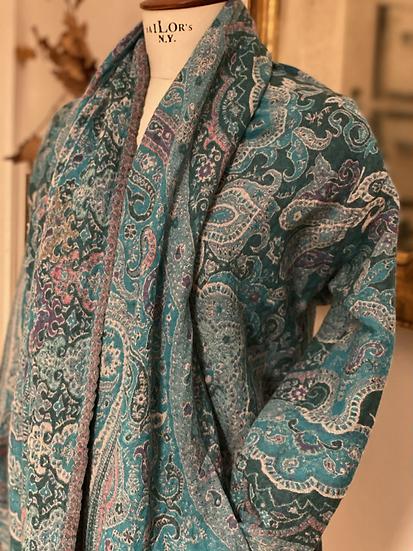 Maxi cardigan pura lana turchese