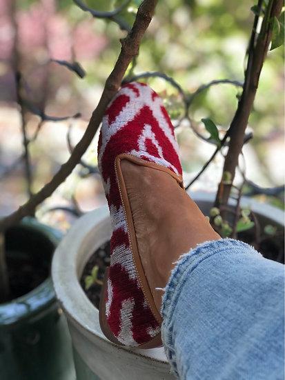 Mocassini velluto  bianco rosso