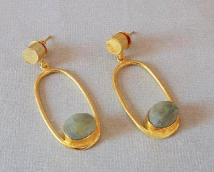 orecchini argento placcato oro con acquamarina