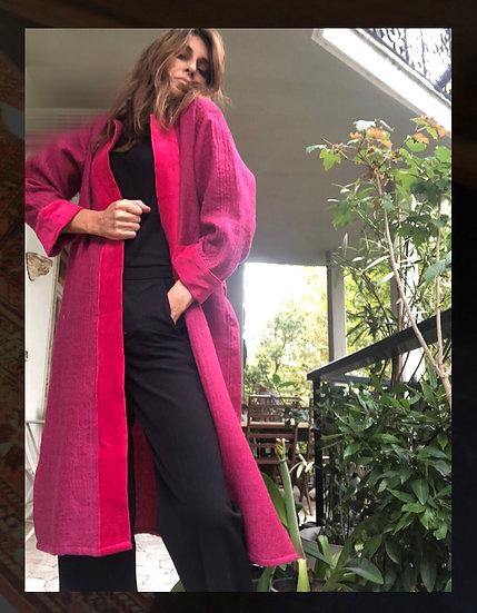 Cappottino magenta in lana e velluto