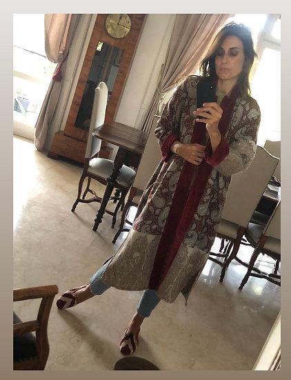 Cappottino in lana e velluto rosso vino