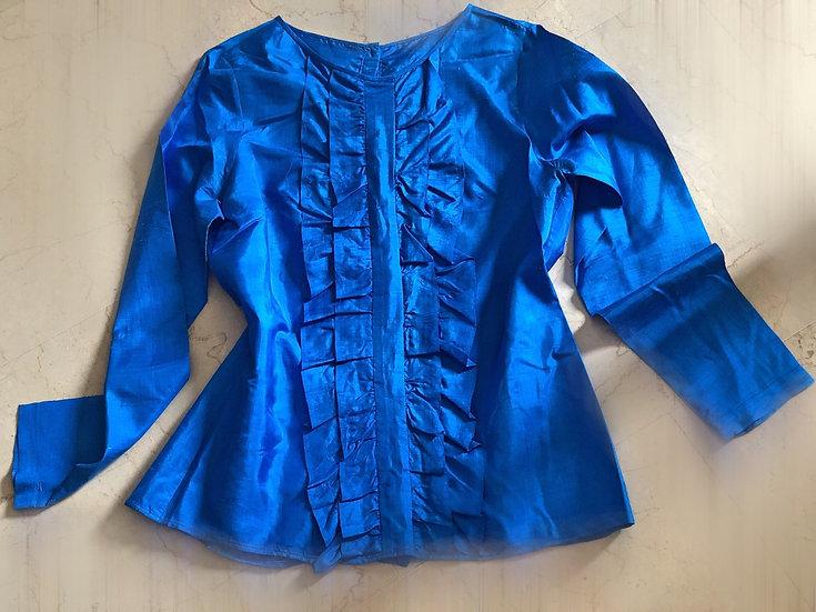 Camicia blusa blu elettrico in shantung