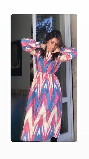 Vestito cotone fantasie geometriche blu/rosa