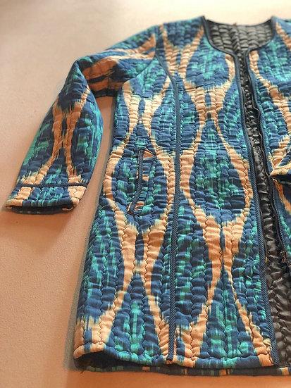 Giaccone trapuntato ikat azzurro turchese e nocciola