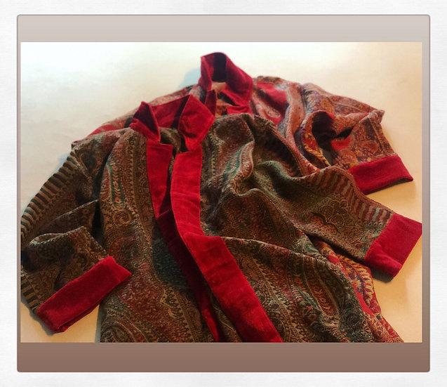 Cappottino lana velluto verde/rosso