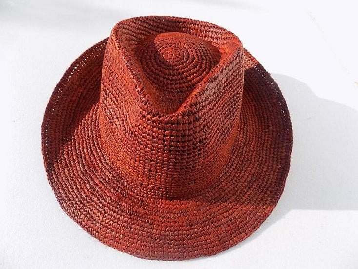 Cappello raffia rosso mattone