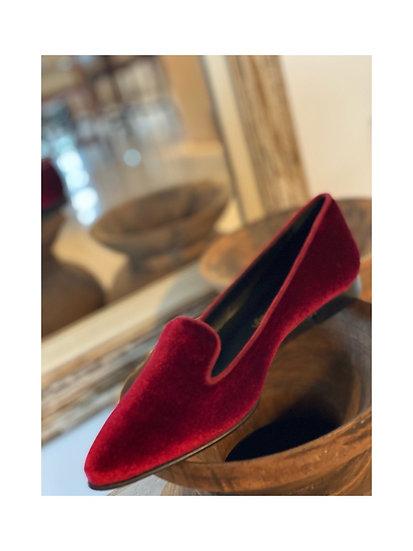 Mocassino velluto rosso/bordeaux