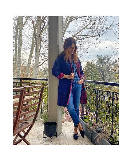 Cappottino reversibile velluto magenta/blu