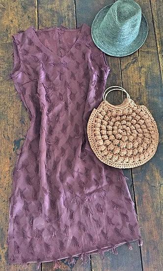 vestito tubino vinaccia con nappine