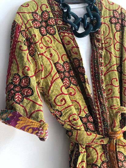 Kimono leggermente trapuntato verde mela/rosso