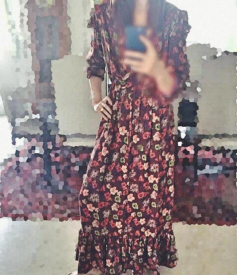 abito lungo a fiori vinaccia