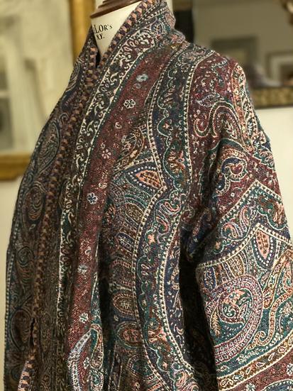 Maxi cardigan lana verdone/bordeaux