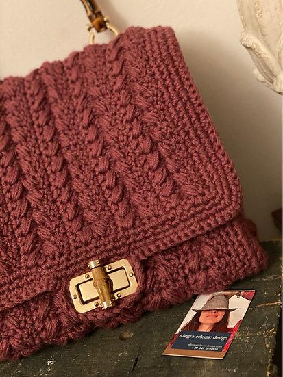 Borsa cartella prugna in lana