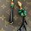 Thumbnail: Orecchini artigianali galvanica oro, resina nero/verde