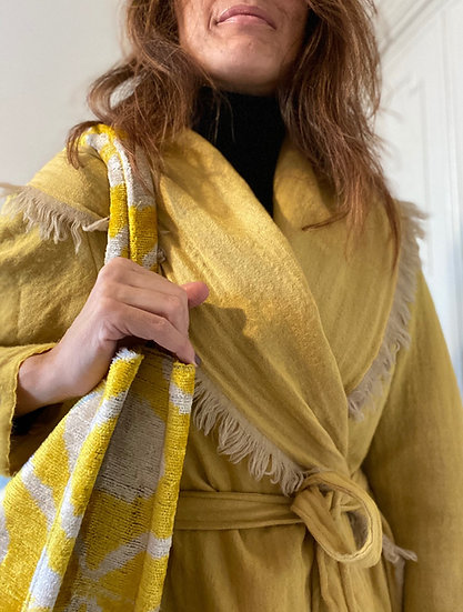 Cappottino-kimono lana giallo senape