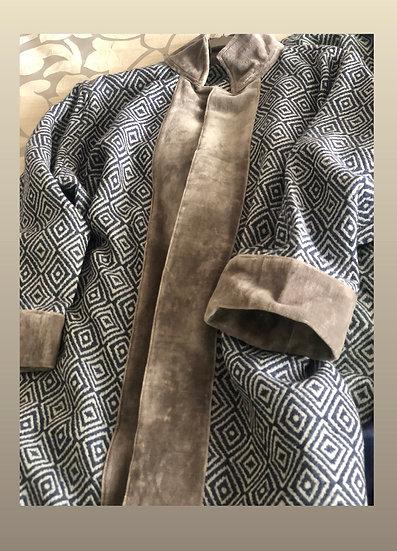 Cappottino ikat rombi bordo velluto grigio