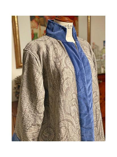 Cappottino spolverino pura lana grigio/blu royal