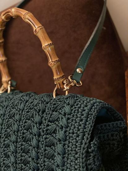 Borsa cartella verde bosco con tracolla pelle