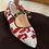 Thumbnail: Ballerina velluto avorio/rosso laccetto pelle nera