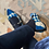 Thumbnail: Ballerine velluto blu royal laccetto pelle nera