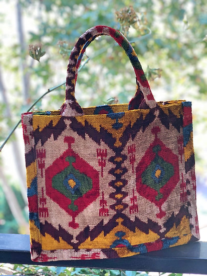 Borsa shopper velluto multicolore