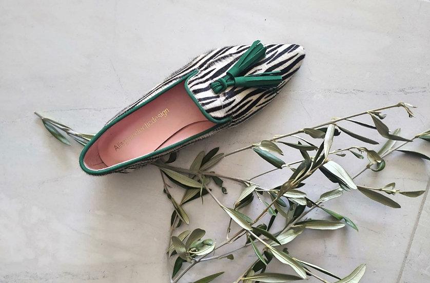Mocassini zebrato profilo verde