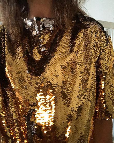 blusa t-shirt paillettes oro