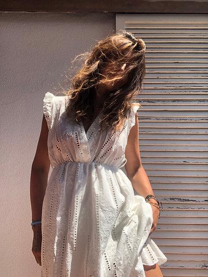 Vestito sangallo bianco smanicato
