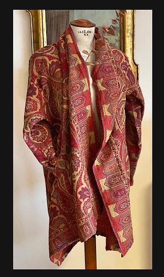 Maxi cardigan lana toni del rosso