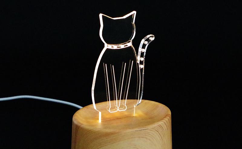 猫型アクリル照明プレート