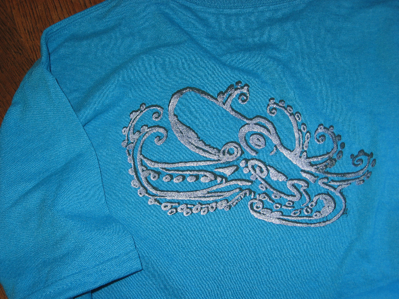 Logo double screened on T-shirt