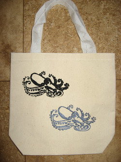 Logos on small tote