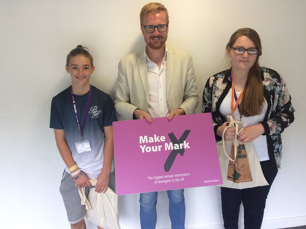 Seb and Poppy representing Central Bedfordshire Youth Parliament with Lloyd Russell-Moyle MP
