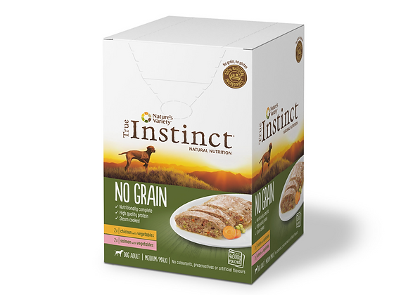 MULTIPACK TERRINE CHIEN TRUE INSTINCT® NO GRAIN - MEDIUM/MAXI ADULT -  4X300G
